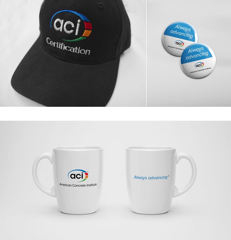 ACI hat, mug, and pin